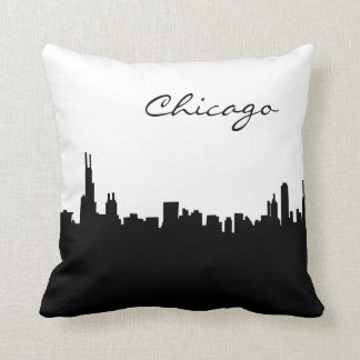 Black and White Chicago Landmark Throw Pillow