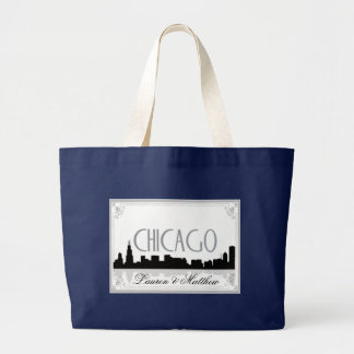 Black and white Chicago skyline Large Tote Bag