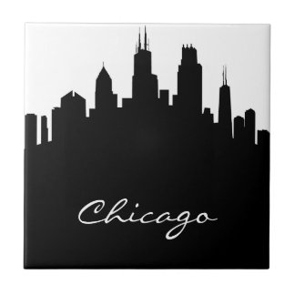 Black and White Chicago Skyline Tile