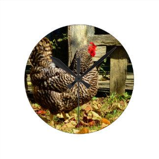 Black and white Chicken Round Clock