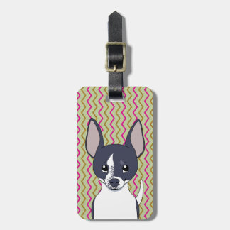 Black and White Chihuahua Pink Green Gold Chevron Luggage Tag