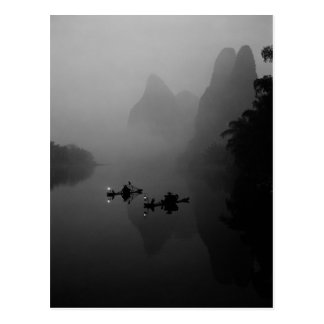 Black and white, China, Li River, Fisherman on Postcard