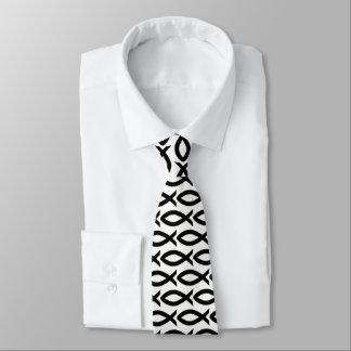 Black and White Christian Fish Symbol  Necktie
