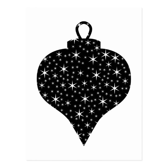 Black and White Christmas Bauble Design. Postcard