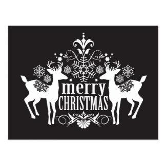 Black and white Christmas design Postcard