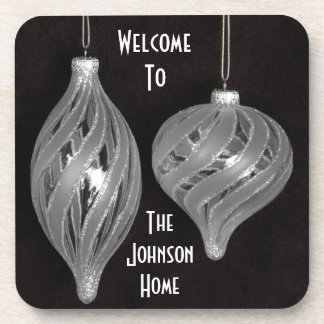 Black and white Christmas ornaments Beverage Coasters