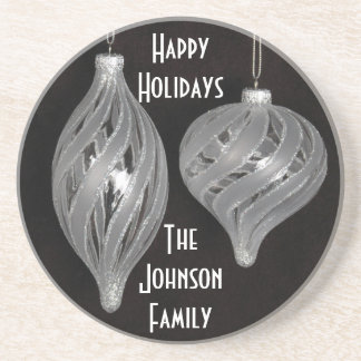 Black and white Christmas ornaments Coaster