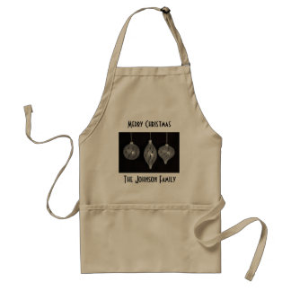 Black and white Christmas ornaments Standard Apron