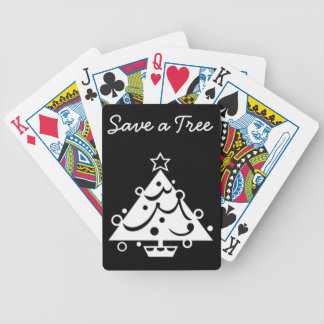 Black and White Christmas Save The Tree Bicycle Playing Cards