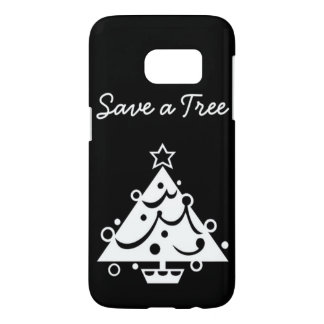 Black and White Christmas Save The Tree Samsung Galaxy S7 Case