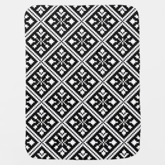 Black and White Christmas Snowflakes Pattern Baby Blanket