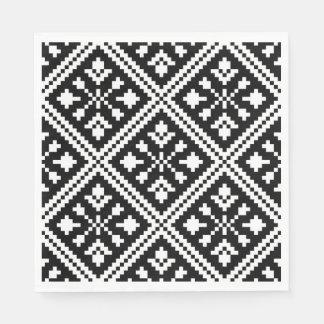Black and White Christmas Snowflakes Pattern Disposable Napkin