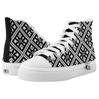 Black and White Christmas Snowflakes Pattern High Tops