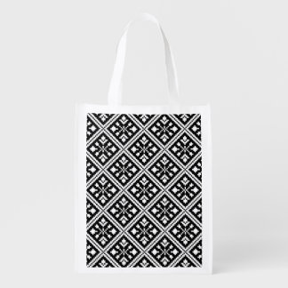 Black and White Christmas Snowflakes Pattern Reusable Grocery Bag