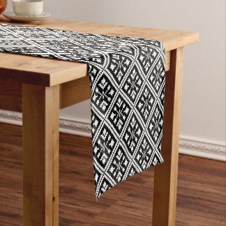 Black and White Christmas Snowflakes Pattern Short Table Runner