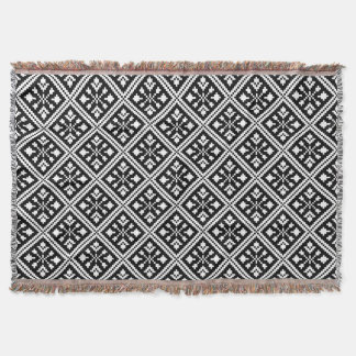 Black and White Christmas Snowflakes Pattern Throw Blanket