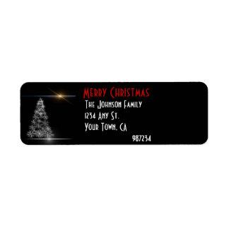 Black and White Christmas Tree Return Address