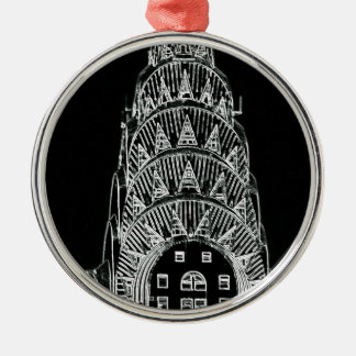 Black and White Chrysler Building Silver-Colored Round Ornament