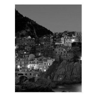 Black and White Cinque Terre Postcard