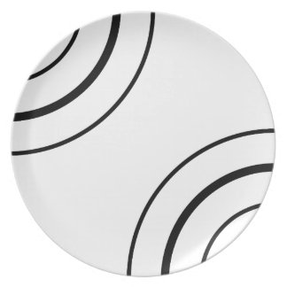 Black and White Circle Design | Minimalist Party Plate