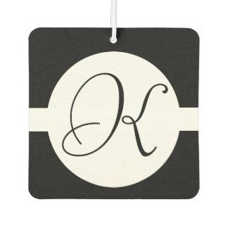 Black and White Circle Monogram Air Freshener