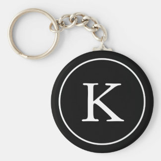 Black and White Circle | Monogram Initial Basic Round Button Keychain