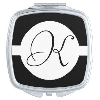 Black and White Circle Monogram Mirror For Makeup