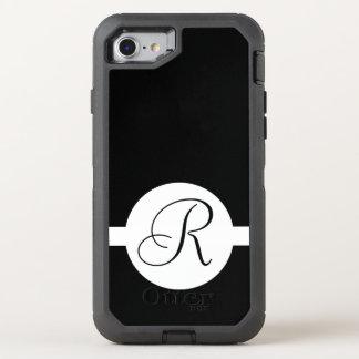 Black and White Circle Monogram OtterBox Defender iPhone 8/7 Case