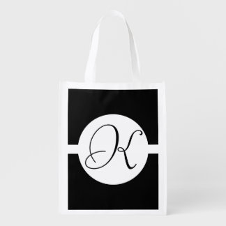 Black and White Circle Monogram Reusable Grocery Bag