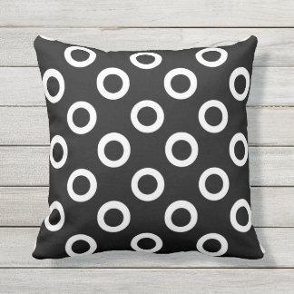 Black and White Circles on Black Throw Pillow