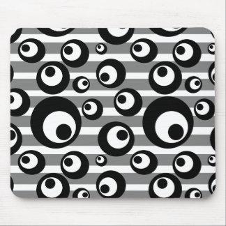 Black and White Circles Stripes Geometric Mouse Pad