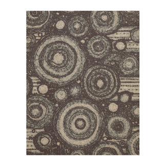 Black and White Circles Wood Wall Art