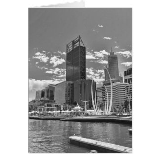 Black and white cityscape card