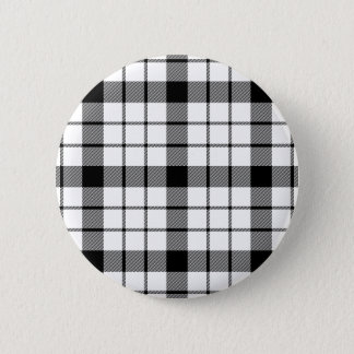 Black and White Clan MacFarlane Tartan 2 Inch Round Button