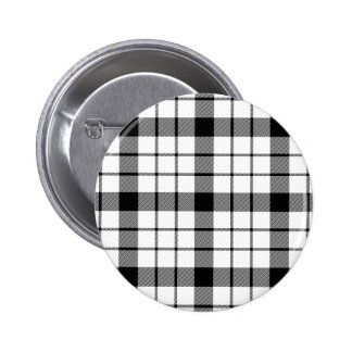 Black and White Clan MacFarlane Tartan 2 Inch Round Button