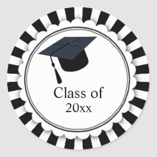 Black and White Class of Graduation Classic Round Sticker