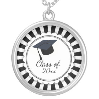 Black and White Class of Graduation Silver Plated Necklace