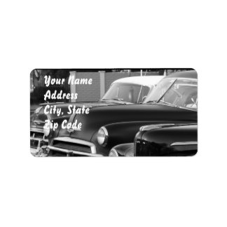 Black and White classic car address labels