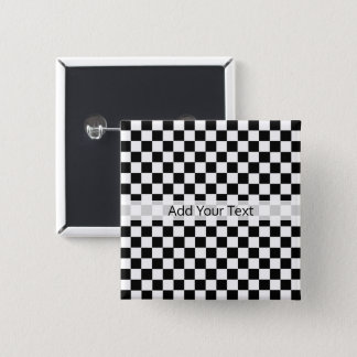Black and White Classic Checkerboard by STaylor 2 Inch Square Button