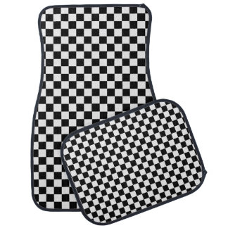 Black And White Classic Checkerboard by STaylor Car Mat