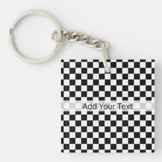 Black and White Classic Checkerboard by STaylor Keychain