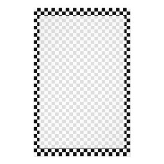 Black and White Classic Checkerboard by STaylor Stationery