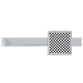 Black And White Classic Checkerboard Silver Finish Tie Clip