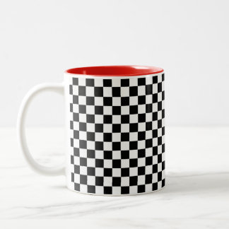 Black And White Classic Checkerboard Two-Tone Coffee Mug