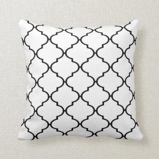 Black and White Classic Quatrefoil Print Pillow