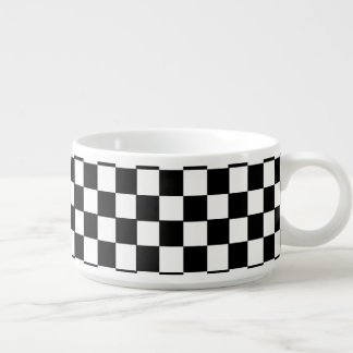 Black And White Classic Retro Checkered Pattern Chili Bowl