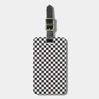 Black And White Classic Retro Checkered Pattern Luggage Tag