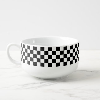 Black And White Classic Retro Checkered Pattern Soup Bowl With Handle
