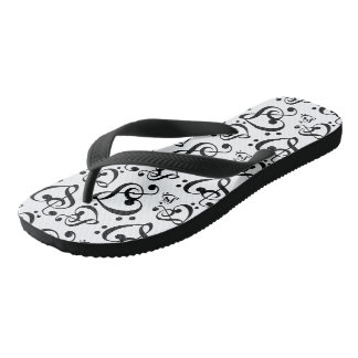 Black And White Clef Hearts Music Notes Shoes Flip Flops
