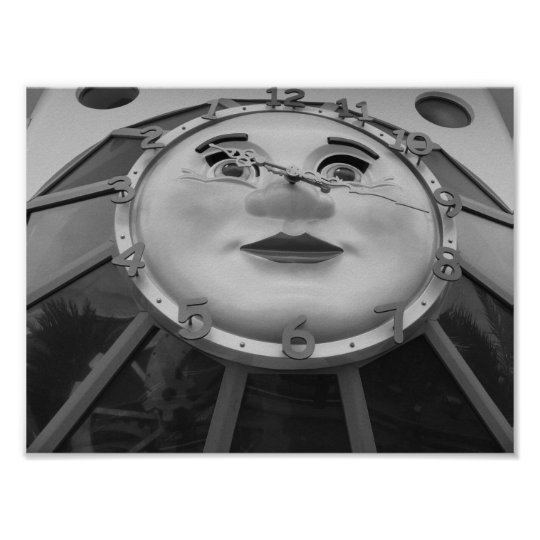 Black And White Clock Photograph Poster